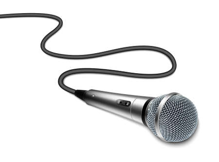 Vector microphone with curved cable on white background 일러스트