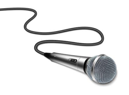 microfono de radio: Micrófono del vector con el cable curvado sobre fondo blanco Vectores