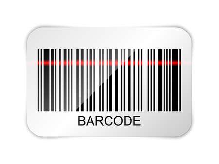 maquina registradora: Icono del vector de código de barras con rayo láser rojo Vectores