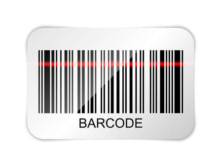 laser beam: Vector barcode icon with red laser beam