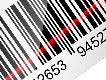 lazer: Closeup Barcode sticker with red laser beam. Vector illustration