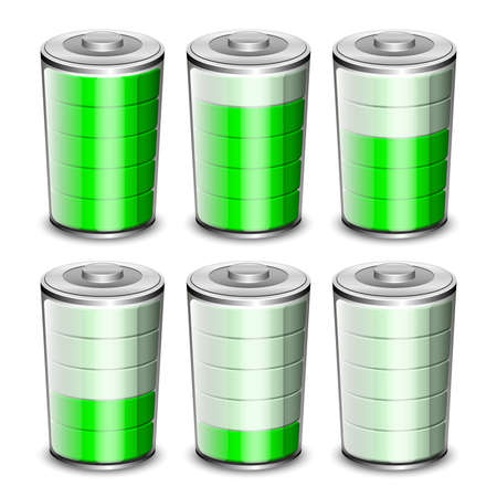 high powered: Battery levels icons set. Vector illustration