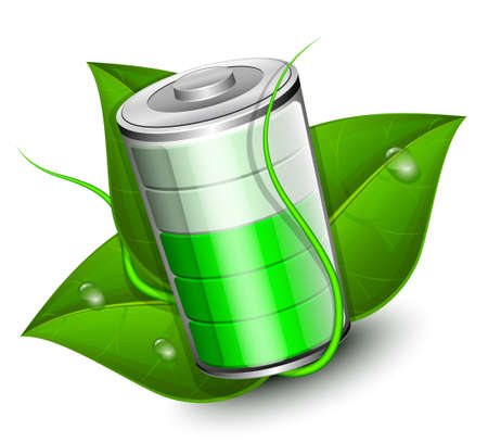 high powered: Battery with green leaf - eco energy concept. Vector illustration