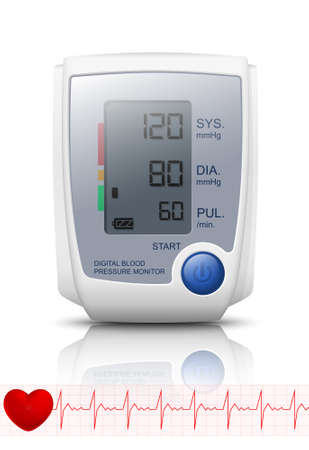 blood pressure monitor: Digital Blood Pressure Monitor with reflection. Vector Illustration Illustration