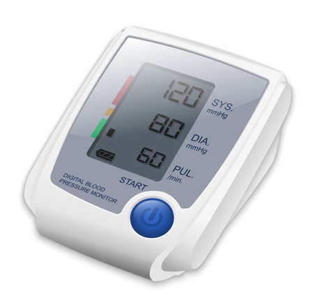cuff: Digital Blood Pressure Monitor. Vector Illustration