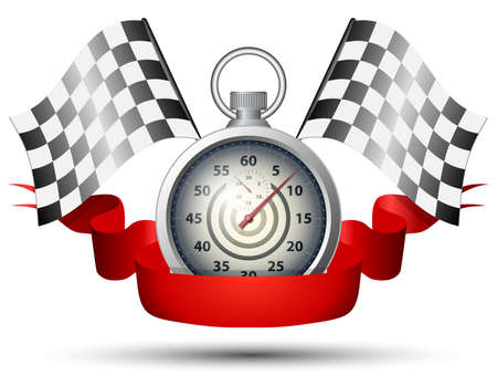 Stopwatch with checkered racing flags and red banner ribbon. Vector 向量圖像