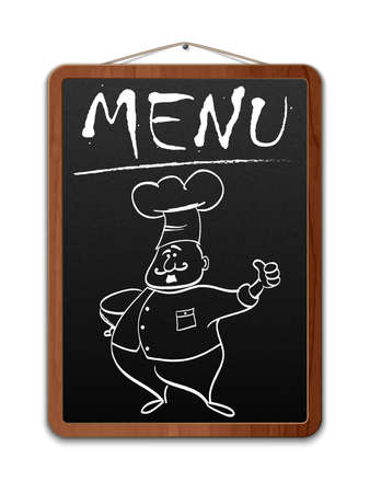 Blackboard with menu inscription and outlined chef. Vector