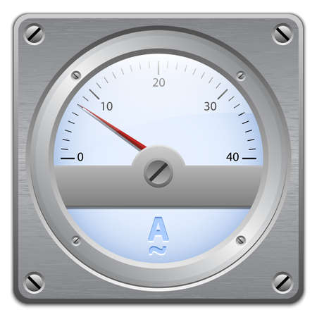 ammeter: Analog ammeter on metal plate, vector illustration