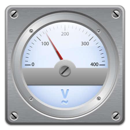voltmeter: Analog voltmeter on metal plate, vector illustration Illustration