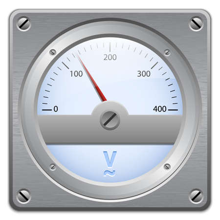 Analog voltmeter on metal plate, vector illustration Vectores