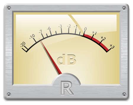 db: Analog signal meter on white background, vector illustration