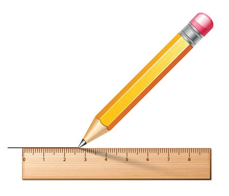 centimetre: Drawing icon with pencil and ruler. Vector illustration