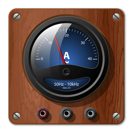 ammeter: Vector ammeter icon on the wooden plate