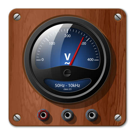 voltmeter: Vector voltmeter icon on the wooden plate