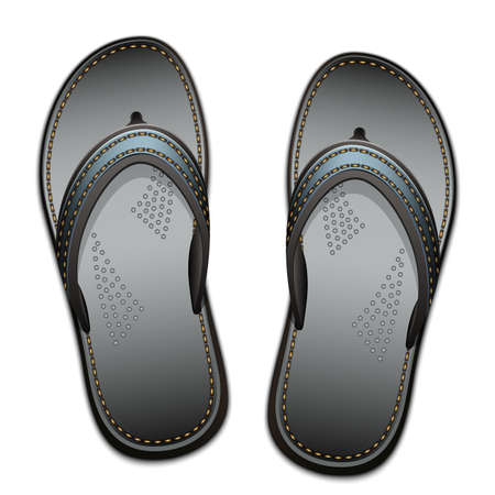 flip flops on the beach: Pair of flip flops isolated on a white background, vector illustration