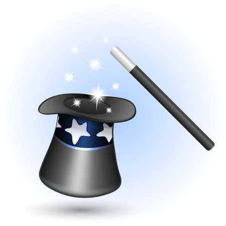 Magic hat with magic wand. Vector illustration