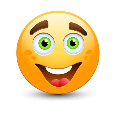 cartoon orange: Happy vector emoticon