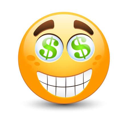 mood: Dollar vector emoticon Illustration