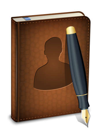 sketchpad: Address book icon with ink pen. Vector Illustration