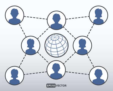 multilevel: Social network concept, vector