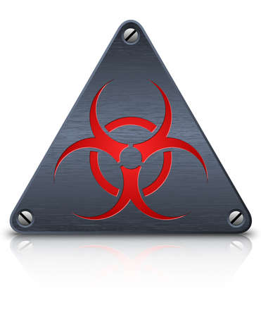 infectious waste: biohazard sign on dark triangular metal plate