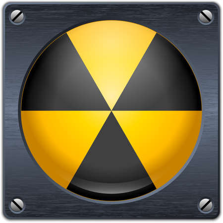 nuclear sign: nuclear sign on dark metal plate