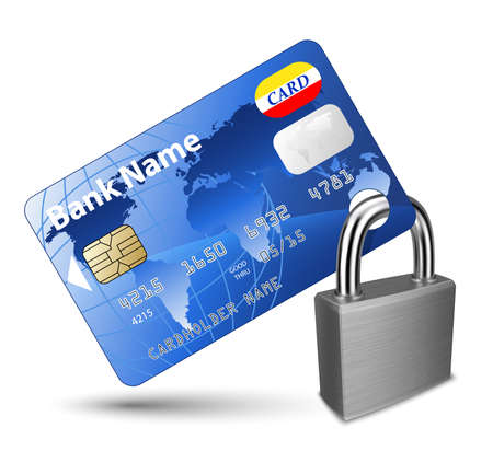 Credit card and Padlock. Concept of a safe payment Çizim
