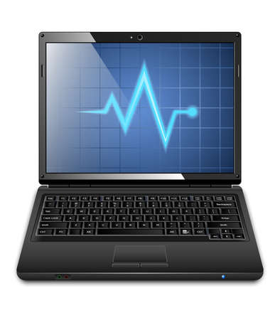 oscillograph: Laptop with diagnostics utility on the screen. Vector