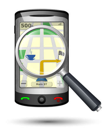 gps navigator: GPS Navigator with magnifying glass, Vector illustration