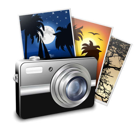sd: Compact photo camera and photos. Vector illustration