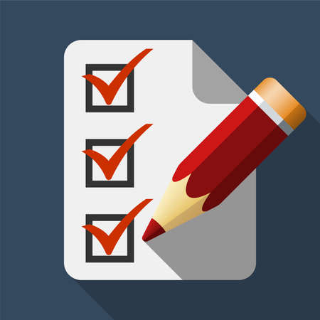 attestation: Pencil icon and checklist with long shadow