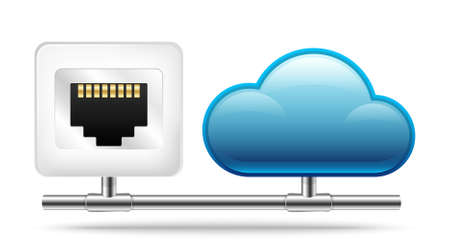 shared sharing: Connection to the Cloud. Vector Icon