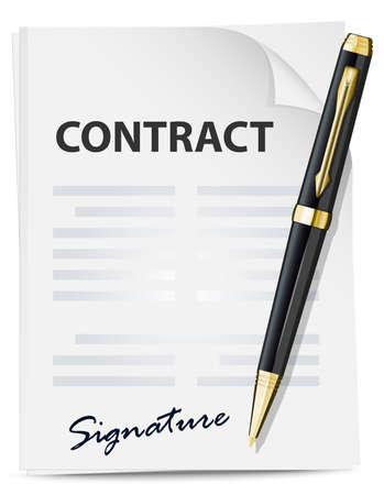 contrato de trabajo: Icono de contracción. Vector Vectores