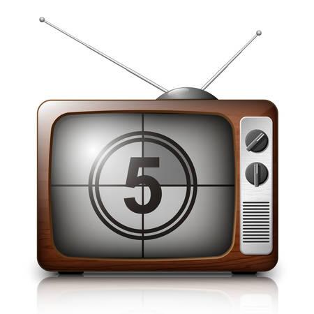 ver tv: Cuenta atrás en la pantalla del televisor retro. Vector Vectores