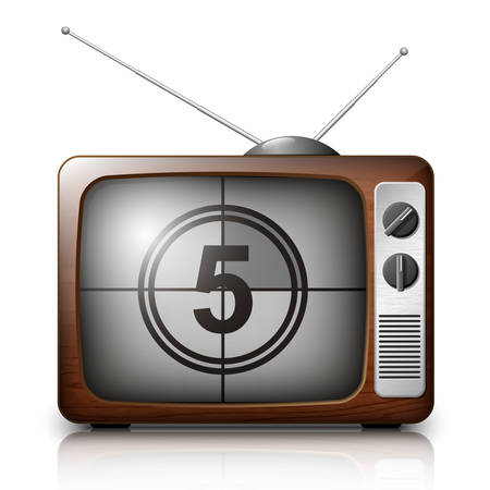 Countdown on the Retro TV screen. Vector Illustration