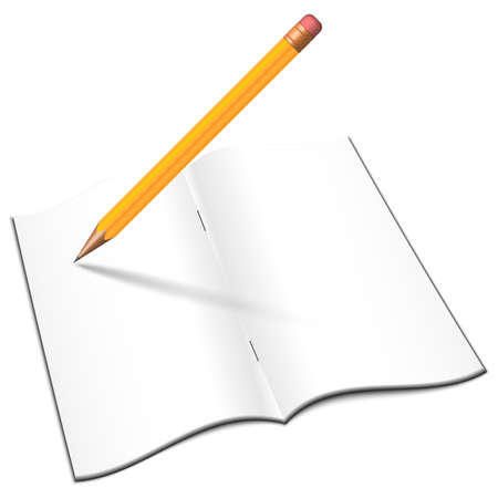 notebook: Blank open notebook with pencil