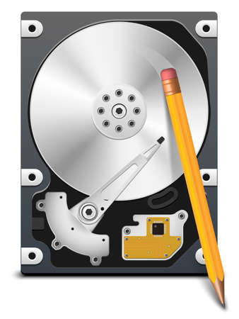 Pencil erasing information from the HDD Illustration