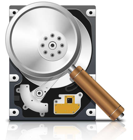 sata: HDD and magnifying glass, front view Illustration