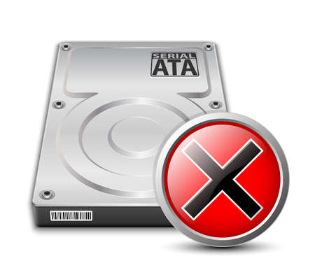 hard disk drive: hard disk drive icon with breakdown sign