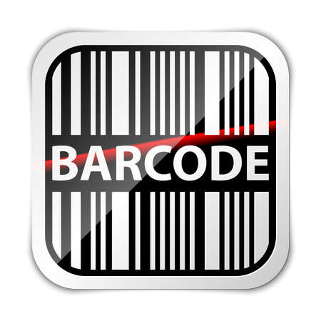 lazer: Bar code icon with red laser beam illustration Illustration