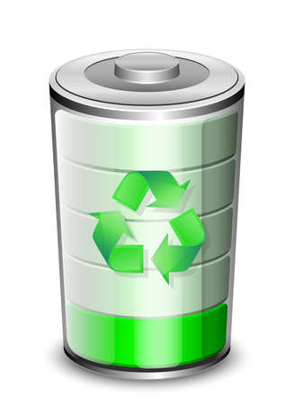 high powered: Battery icon with recycle sign, renewable energy concept.