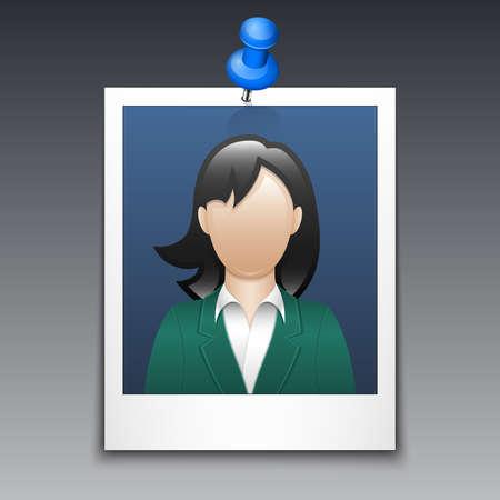 traje sastre: Marco de la foto con la mujer en traje de negocios Vectores