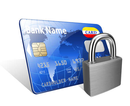 payments: Padlock and credit card. Concept of a safe payment