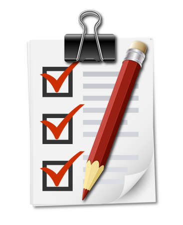attestation: Realistic icon of checklist with binder clip and pencil