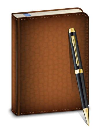 ball pens stationery: diario con la pluma cl�sica en el fondo blanco
