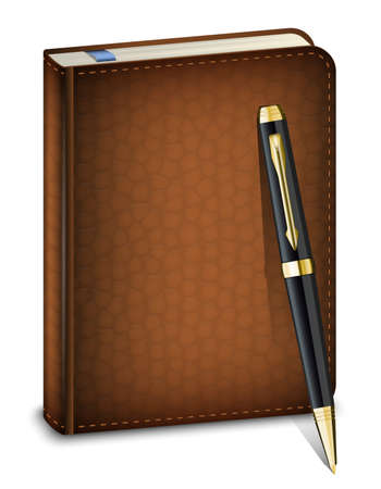 sketchpad: diary with classic pen on the white background