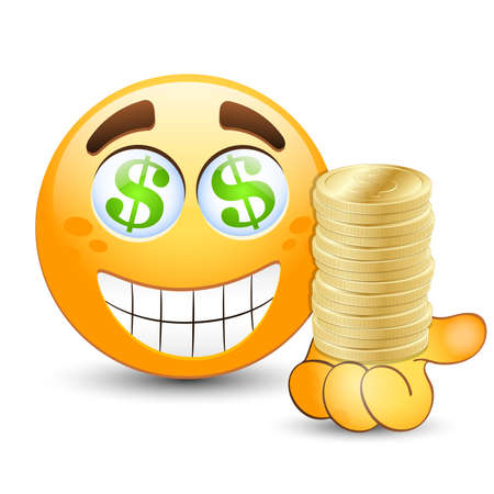 Smiling face with gold coins on hand.
