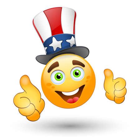 carita feliz caricatura: Cara sonriente con los pulgares arriba y sombrero patriótico.
