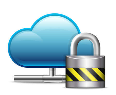 secure data: Cloud Computing Icon with Protection.