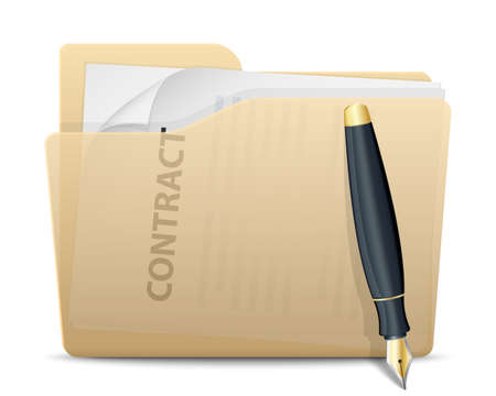signing papers: Folder with contract inside and pen.